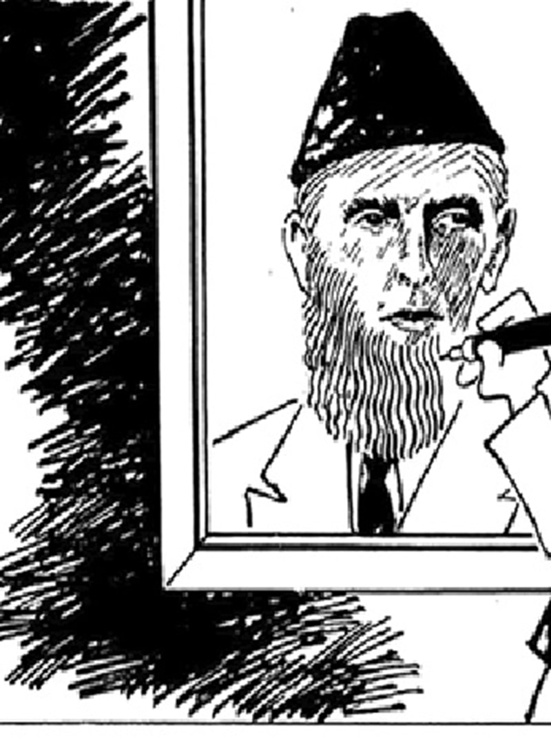 DAWN cartoonist Zahoor mocks how (ever since the 1980s) some leaders have tried to 'Islamise' Jinnah.