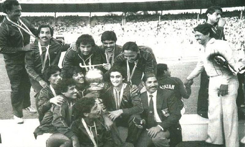 Pakistan hockey squad after winning the 1982 Hockey World Cup.
