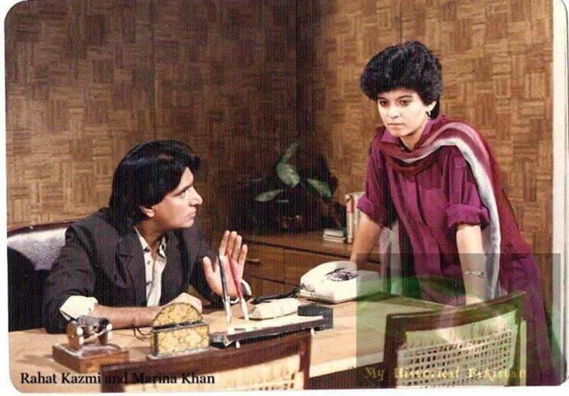 Actors Rahat Kazmi and Marina Khan in the popular PTV serial, Tanhaiyaan (1985).