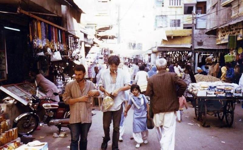 A busy shopping street in Karachi, 1985.