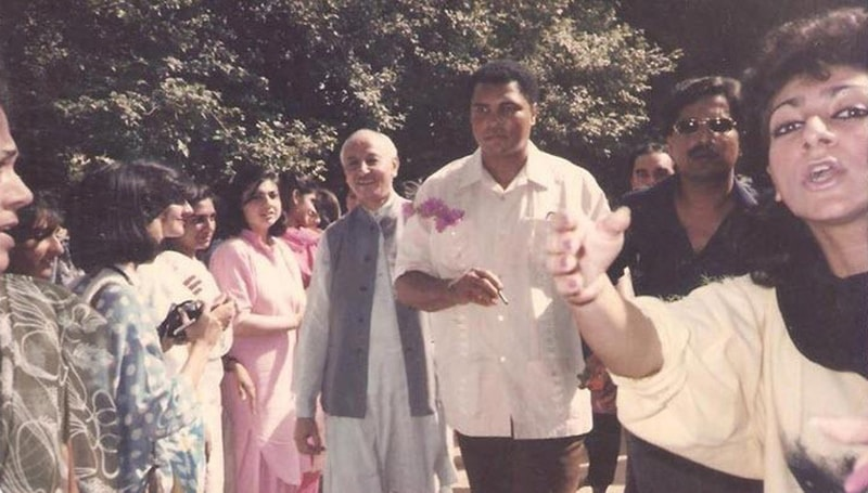 Three times boxing heavy weight champion, Mohammad Ali, visits a college in Lahore during his 1988 trip to Pakistan.