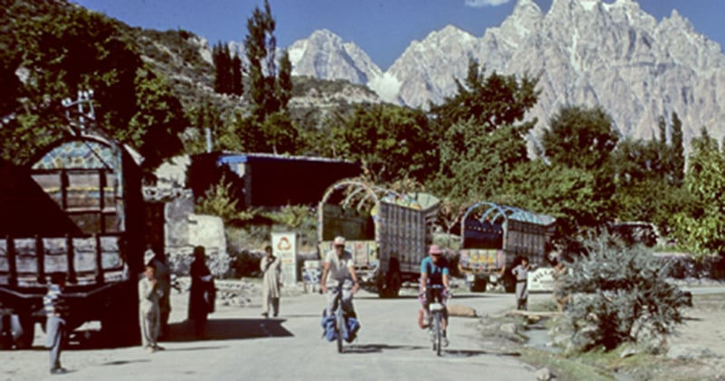 American cyclists in Swat, 1990.