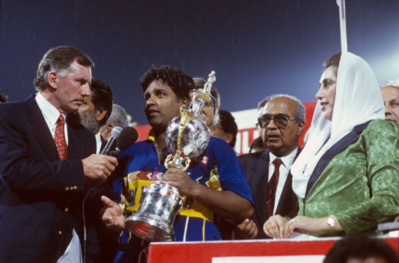 Australian TV commentator, Ian Chappell, interviews Sri Lankan captain after PM Bhutto hands him the trophy of the 1996 Cricket World Cup. The final of the event took place at Lahore's Qaddafi Stadium.
