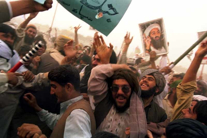 An anti-US rally in Peshawar after American forces invaded Afghanistan in 2002.