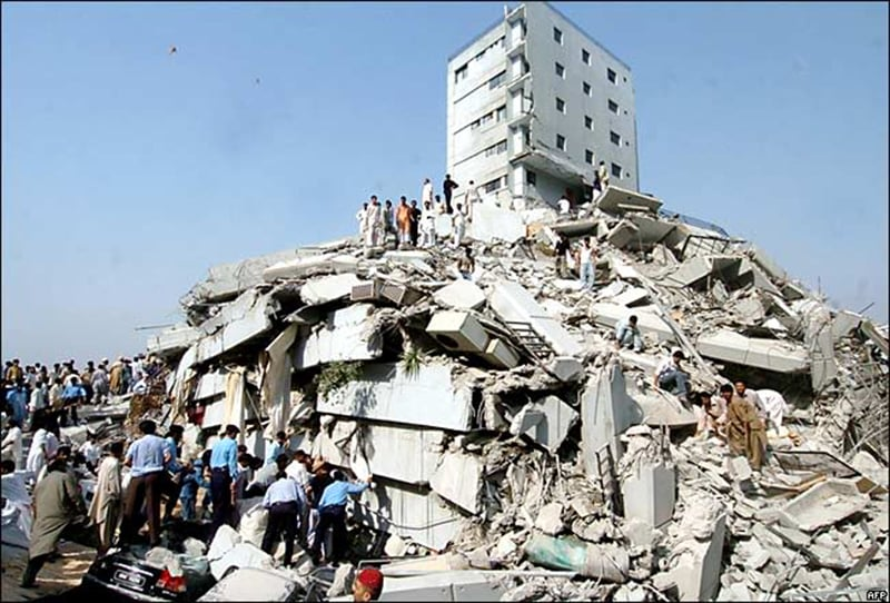 Rubble of a an apartment block that collapsed in Islamabad during the devastation 2005 earthquake in the country's northern areas.