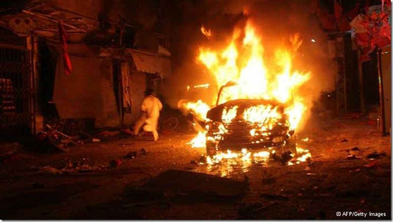 A car bomb goes off in Karachi just before the 2013 election. Extremist outfits regularly attacked members of MQM, PPP and ANP during the election campaign.