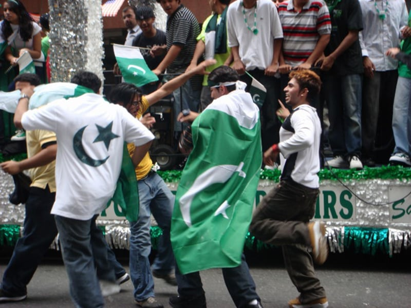 Youth celebrate Pakistan's Independence Day in Lahore (2009).