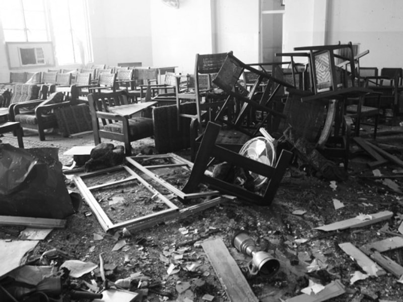 Wreckage left behind by an extremist attack on a school in Peshawar (2014). Dozens of students lost their lives.