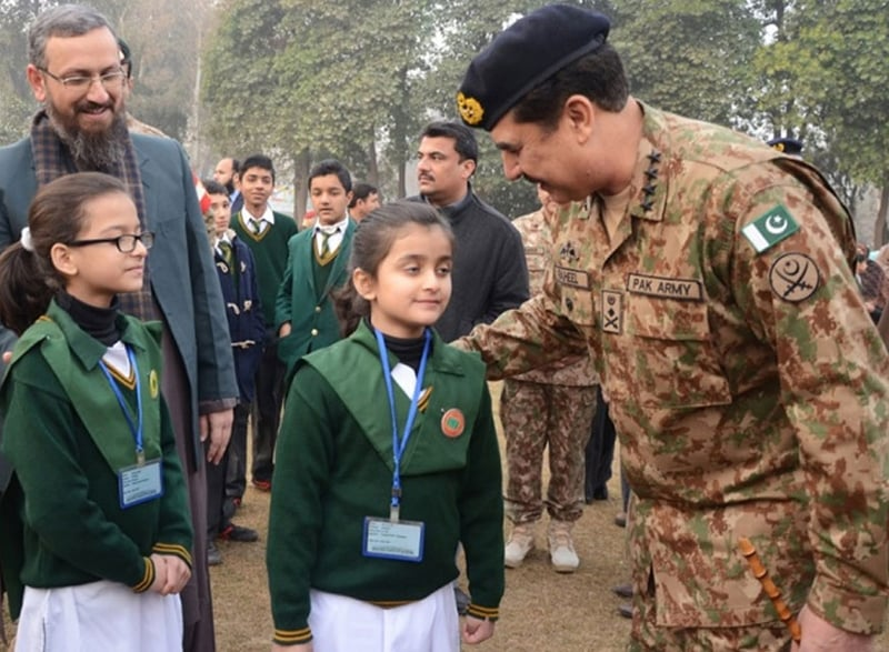 Pakistan military chief, General Raheel Sharif, who is the main architect of the military's widespread operation against terrorism, meets some students of the school that was earlier attacked by militants.