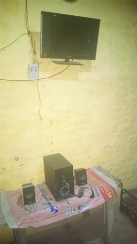 A TV and sound system run on solar power