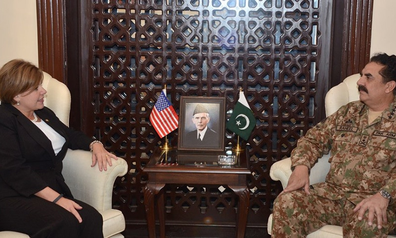 A view of the meeting between General Raheel Sharif and US Deputy under Secretary Ms Heidi Grant.— Photo courtesy www.ispr.gov.pk