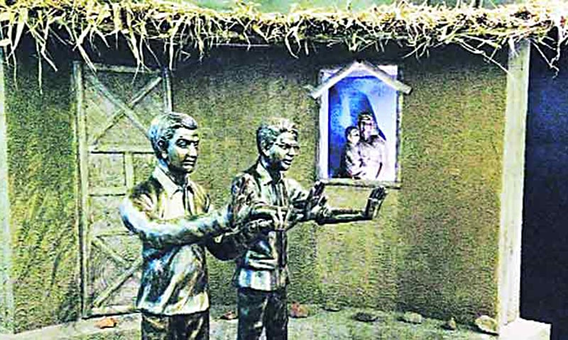 Statues of Vasant Rao Hegishte and Rajab Ali Lakhani inside the memorial. —Photo: Indianexpress.com