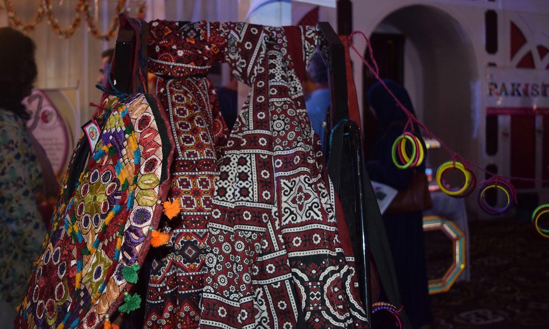 Ajrak items on display. — Photo by Yumna Rafi