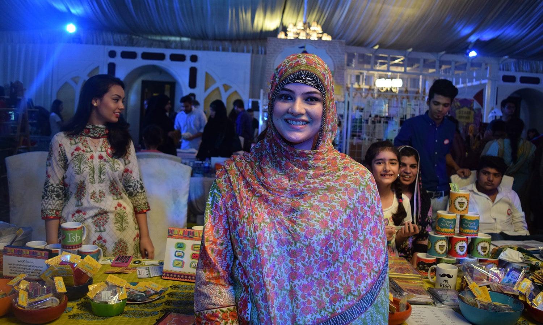 Varah Musavir with her stall, 'The Firefly'. — Photo by Zoya Anwer