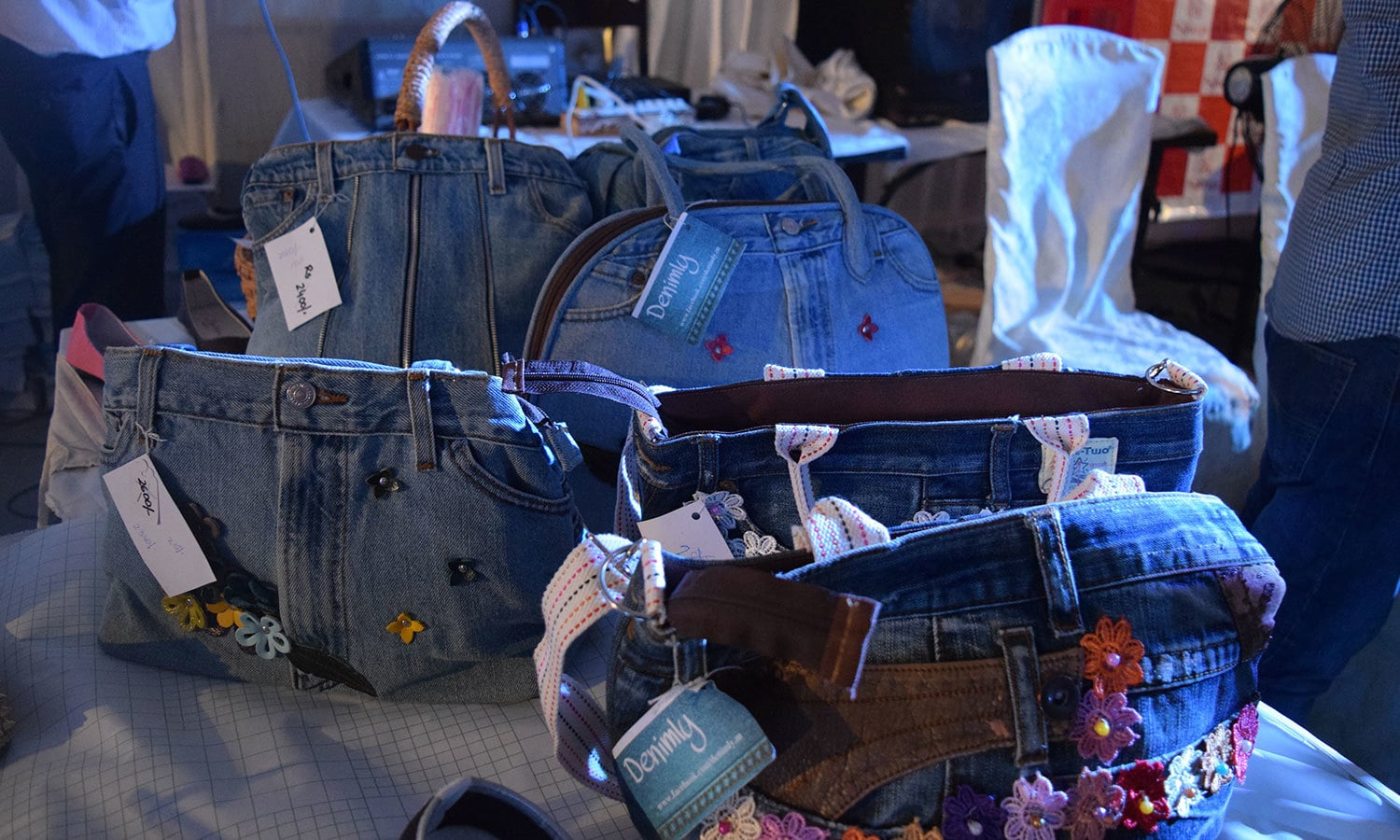 Quirky Jeans bags on display. — Photo by Zoya Anwer