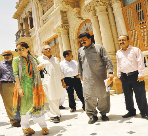 SINDH CM's special assistant on culture Sharmila Farooqui visits Mukhi House, handed over to her department for its conversion to a museum.—Dawn