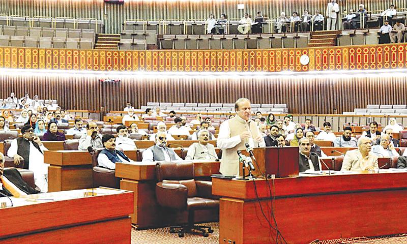 ISLAMABAD: Prime Minister Nawaz Sharif addressing the National Assembly on Wednesday.—INP