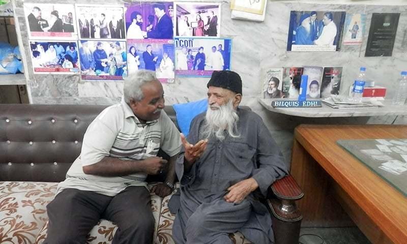 The author with Abdul Sattar Edhi. —Mohsin Soomro