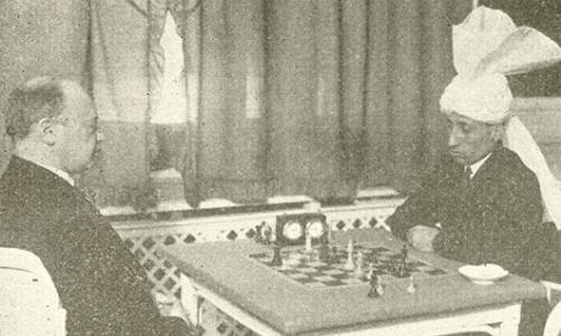 Savielly Tartakower and Sultan Khan, match, Semmering, 1931.