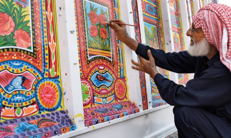72 years old Haji Habibur Rehman gives final touches to his work.