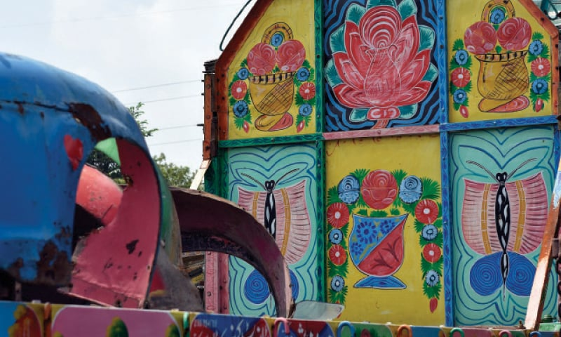 Bold brush strokes in vibrant colours are a defining feature of truck art.