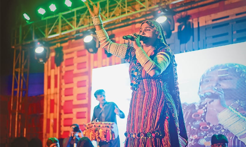 Mai Nimani sings 'Chal malanga chal' at the two-day music festival, which ended on Sunday night. —Fahim Siddiqi / White Star