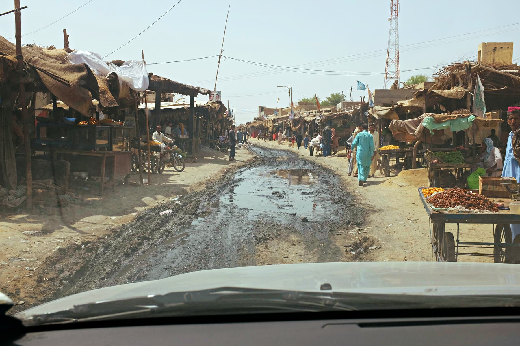 The main street of Wahi Pandi turns into a swamp during monsoon season.
