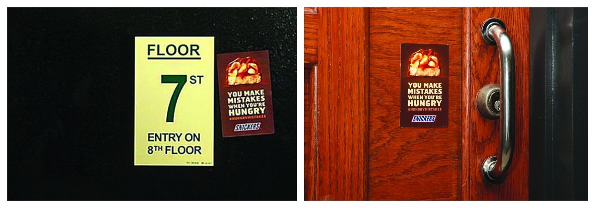 Hunger games: BBDO (Snickers' agency) went in search of signage mistakes in New York. Leveraging the brand's platform that hunger makes you make mistakes, the agency placed Snickers stickers next to these goof ups and used them to promote the brand