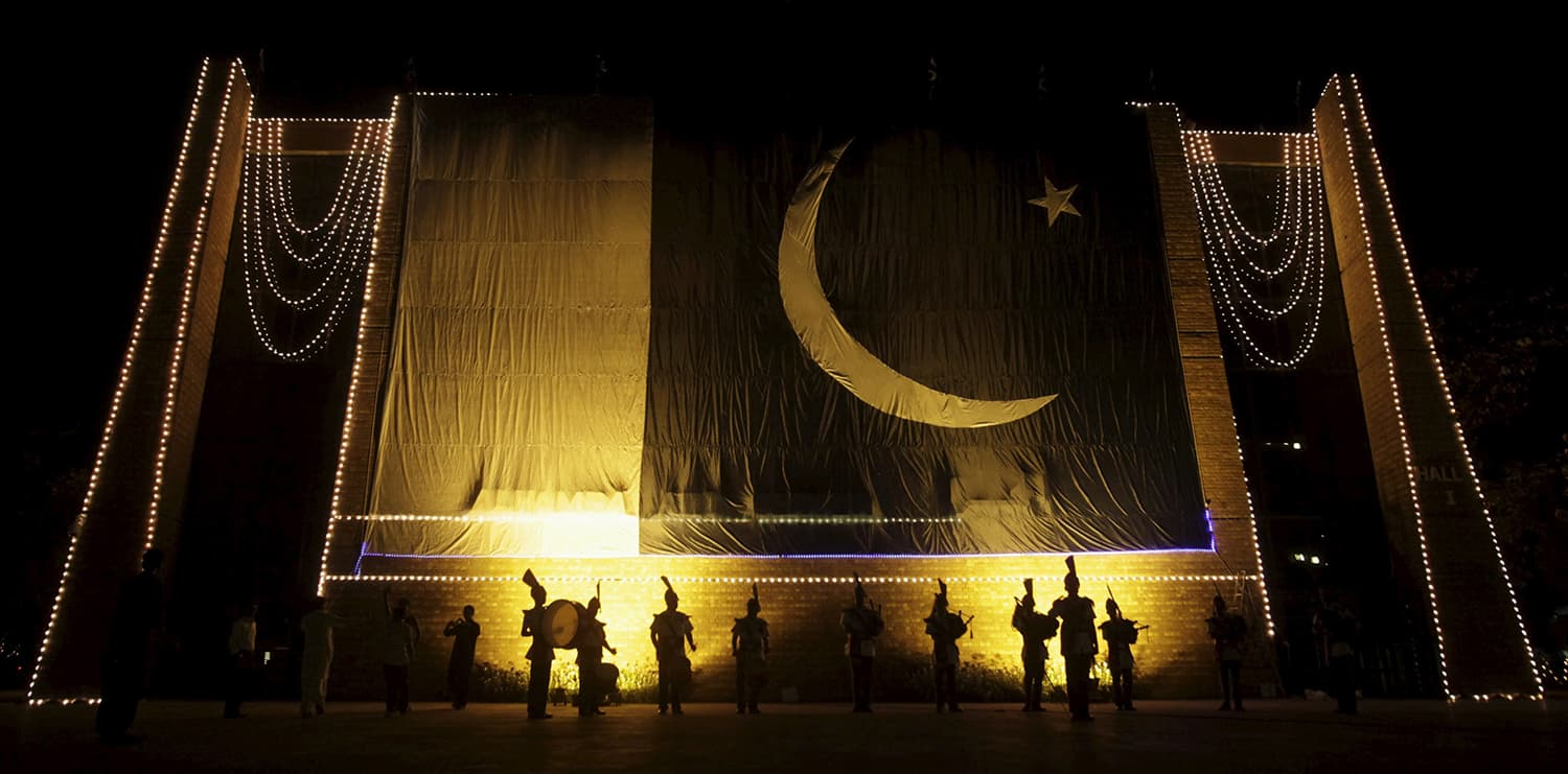 A band performs a national song in Lahore. — Reuters