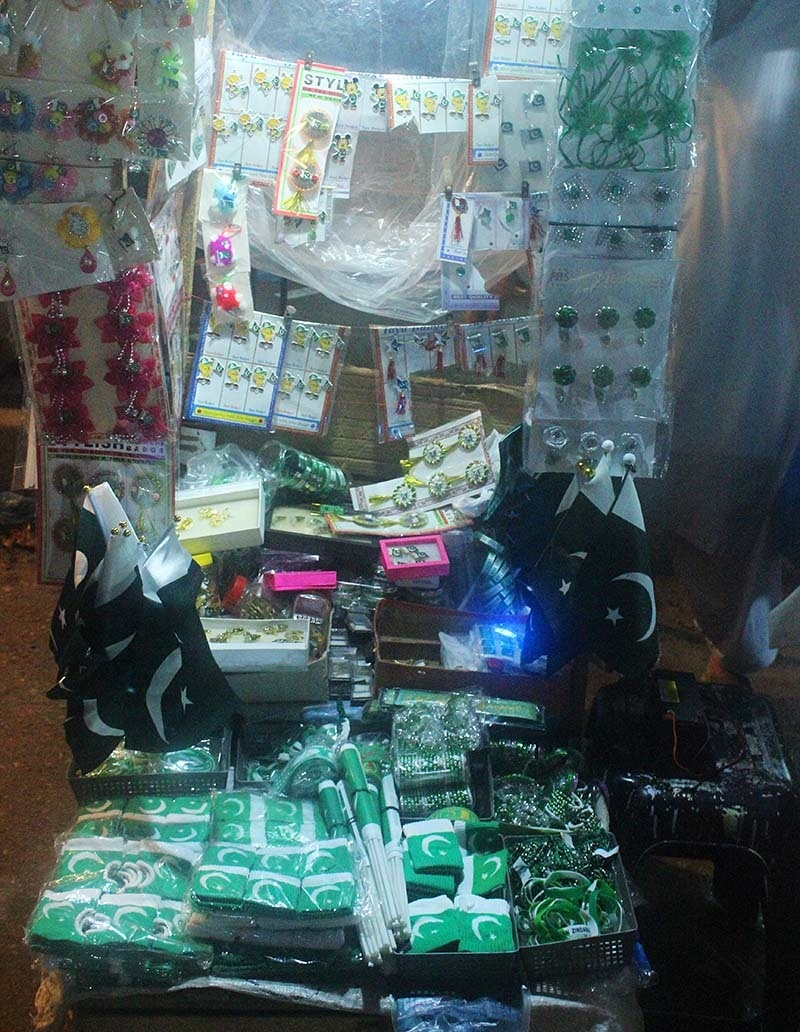 A Small Space Utilised Efficiently   A Vendor At Pakistan Chowk Decorated  His Stall With Almost