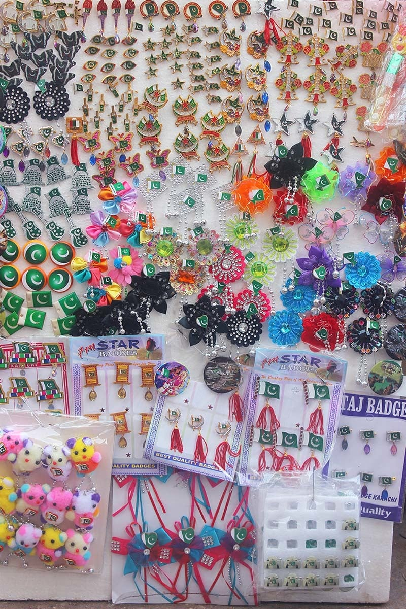 Badges Of All Varieties Set Up On A Thermopole Sheet For Sale At Pakistan  Chowk.