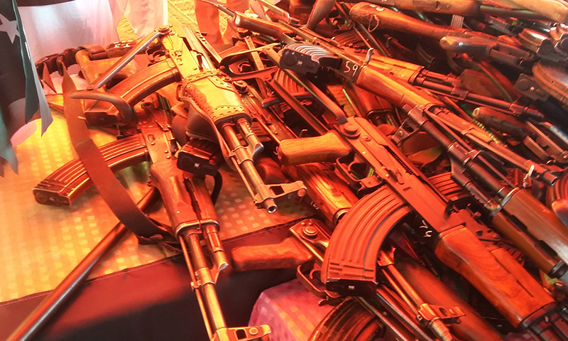 The picture shows weapons laid down by the militants. — Photo by author