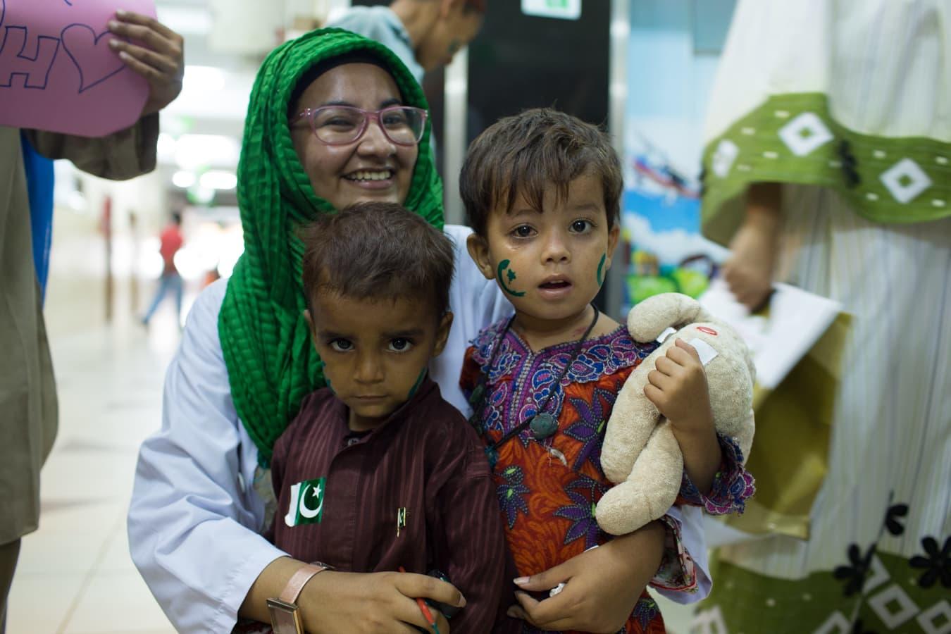 A volunteer, Marzia, from Patients Helping Hands.