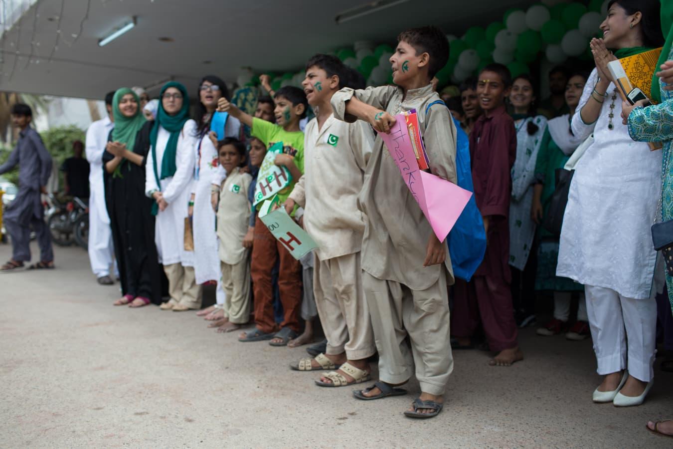Chanting 'Pakistan Zindabad' after the National Anthem.