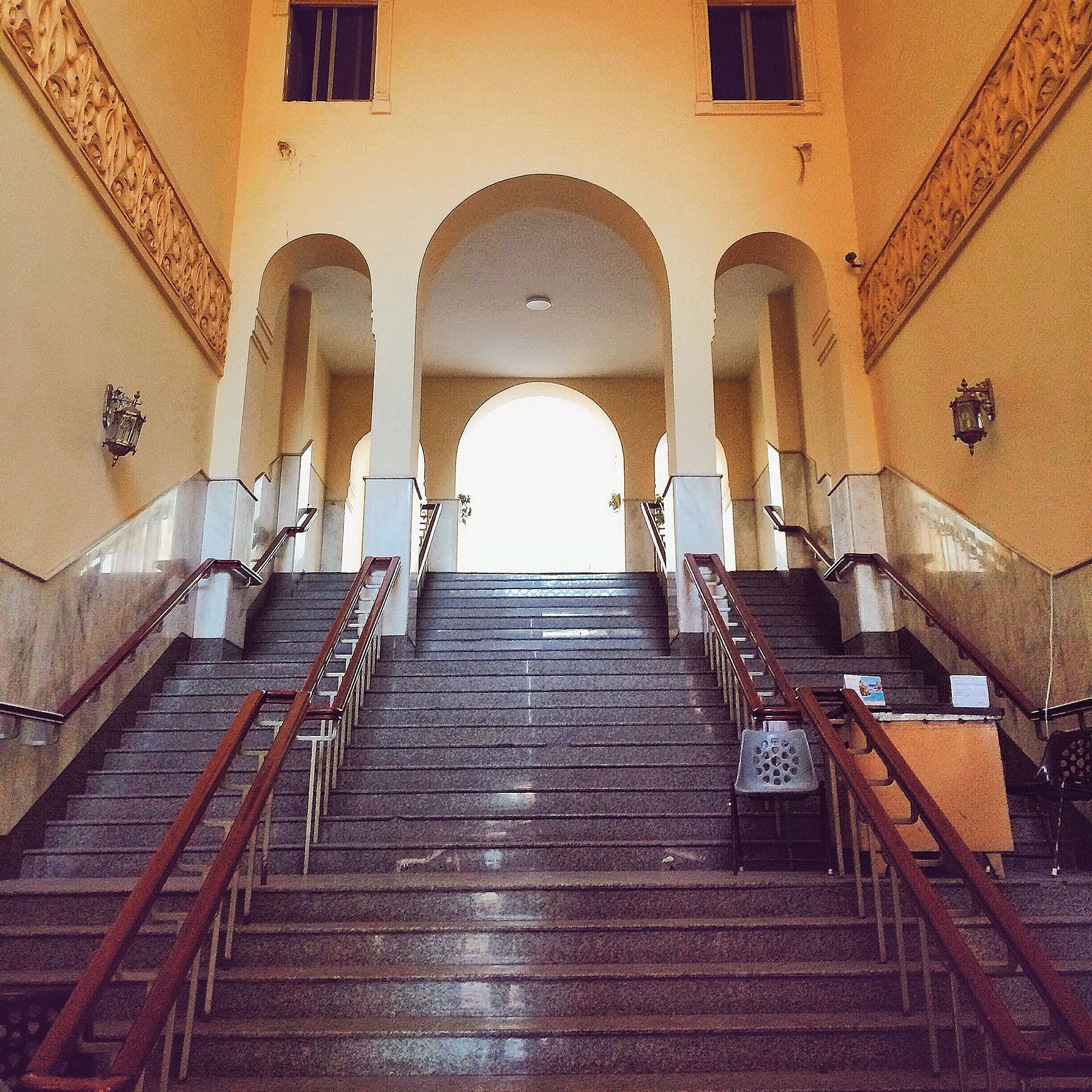 The main staircase leading up to the interior of the mosque.