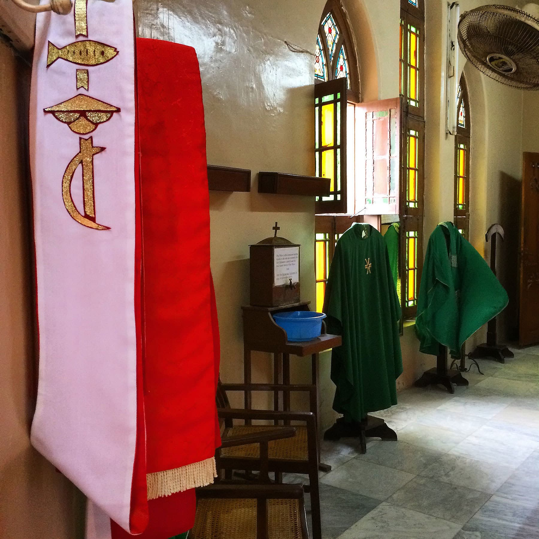 Changing area for the altar boys and people in the Church choir.