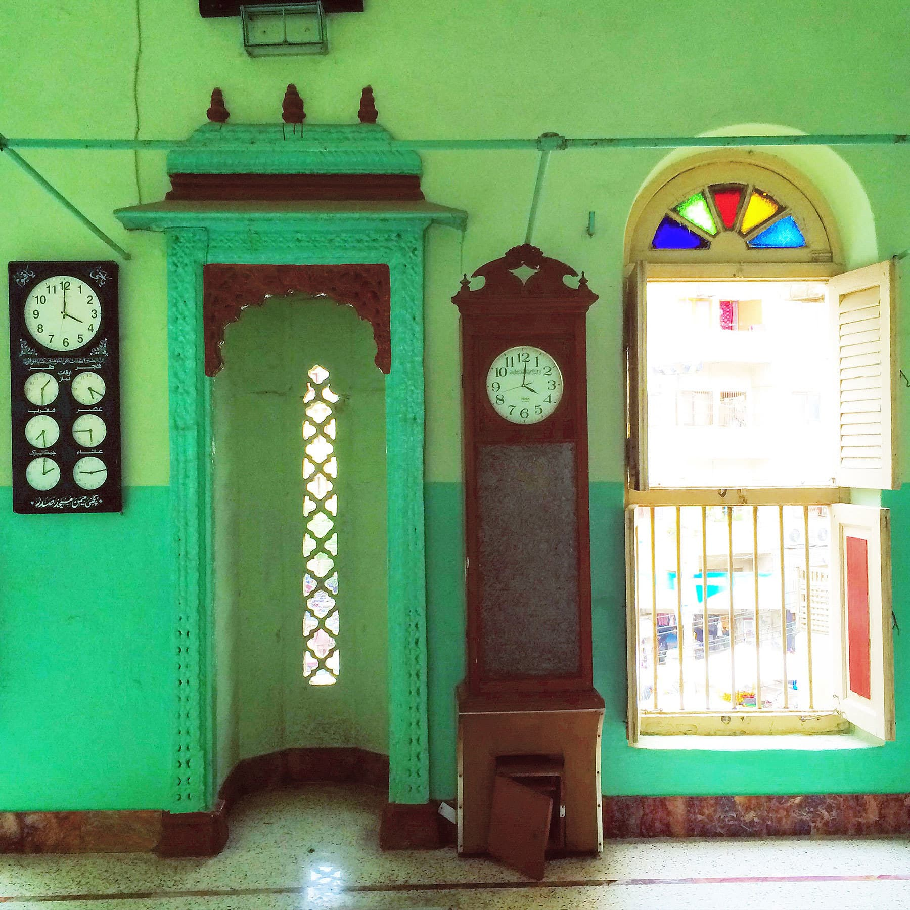 I particularly loved the interior of the mosque which was a unique Pistachio green.