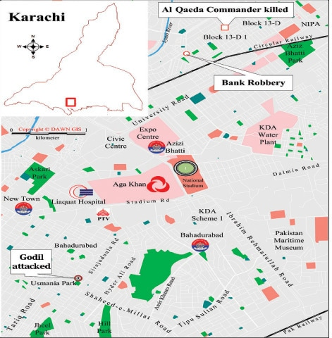 Three major crimes took place in an area of less than 15 square kilometres. Karachi has a total urban area of 1,100 square kilometres.