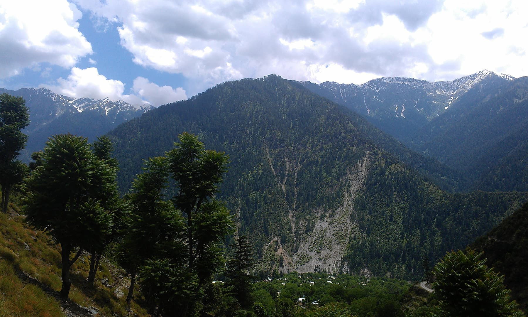 Athmuqam in the valley below.