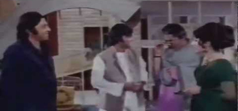 Scene from 1975's Mohabat Zindagi Hai in which Waheed Murad (second left) played a UK-return Pakistani who was 'wise' because he held on to his 'Eastern values.'