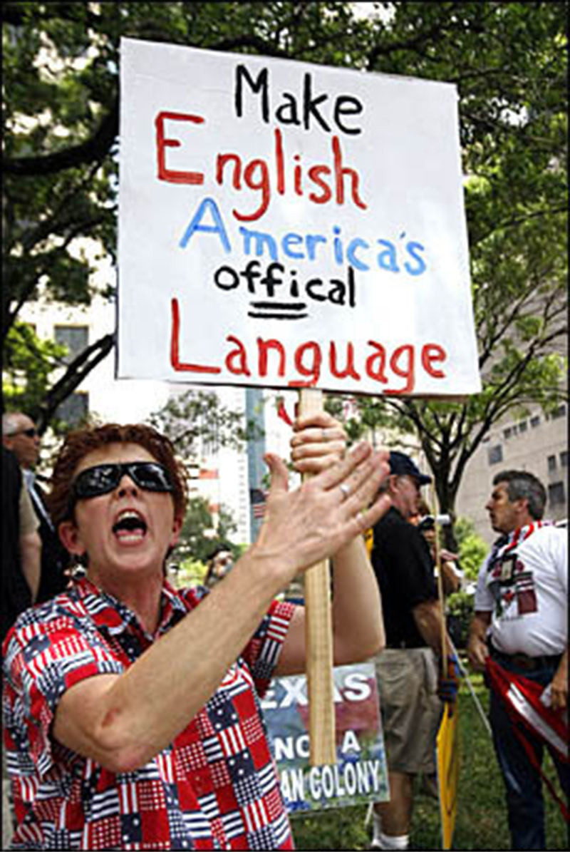 An anti-immigration rally in the US.