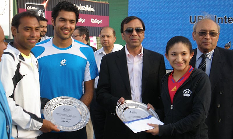 Pictured here with Pakistan's most well-known tennis player Aisam-ul-Haq Qureshi (second from left) It took Aisam a run to the US Open final and a win over Roger Federer in a doubles match to finally make a name for himself.