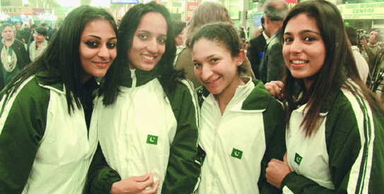 With the Fed Cup team.