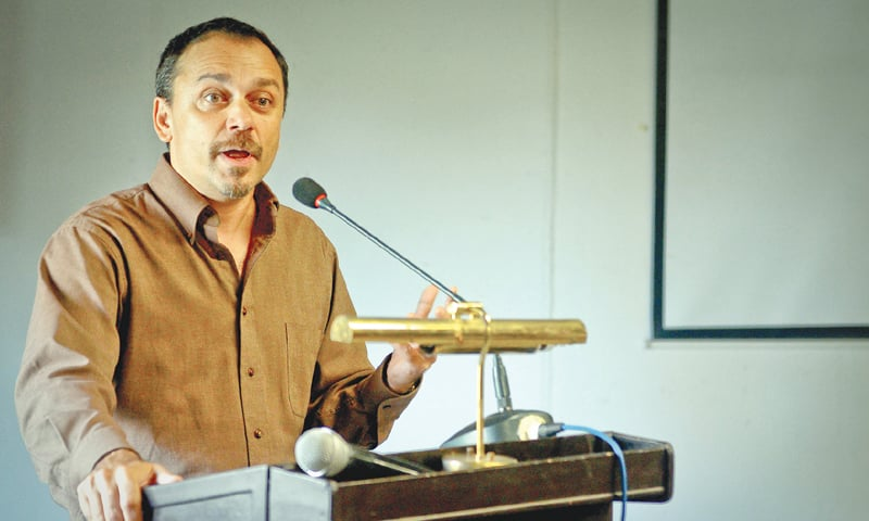 Munis D. Faruqui speaking at the Indus Valley School of Art and Architecture on Thursday.—White Star
