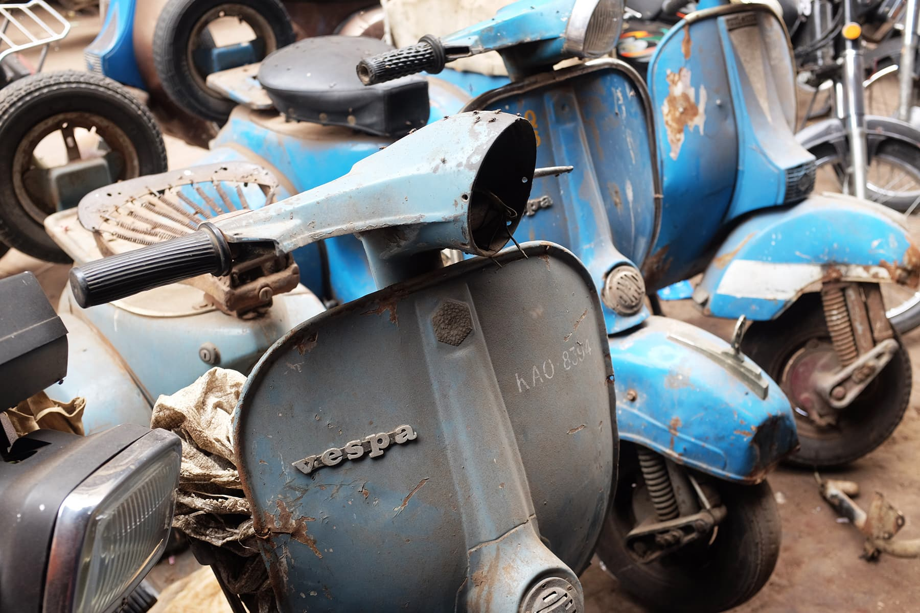 Most of the Vespas in Ranchor lines are waiting for refurbishment.