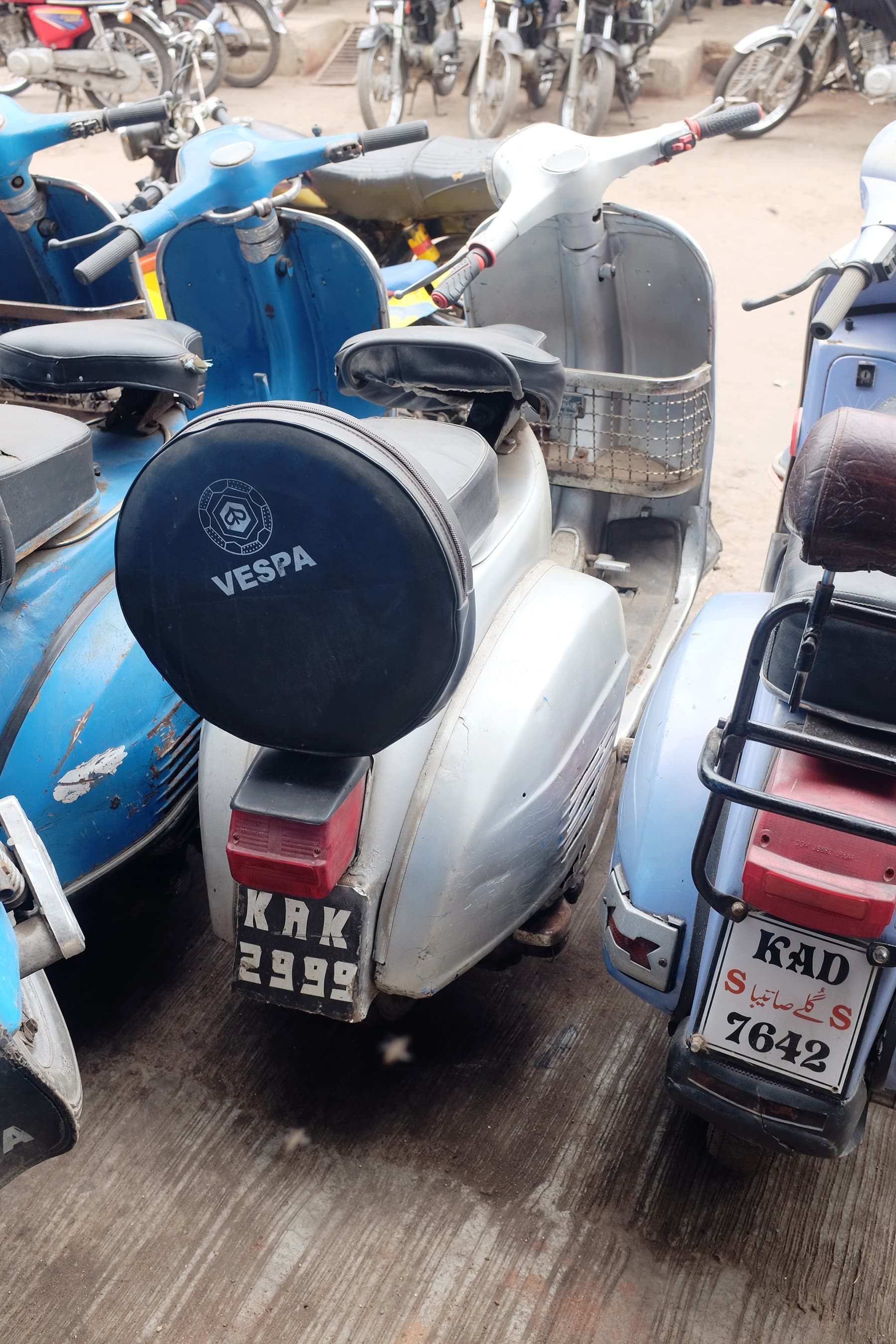 A Vespa repainted in silver.