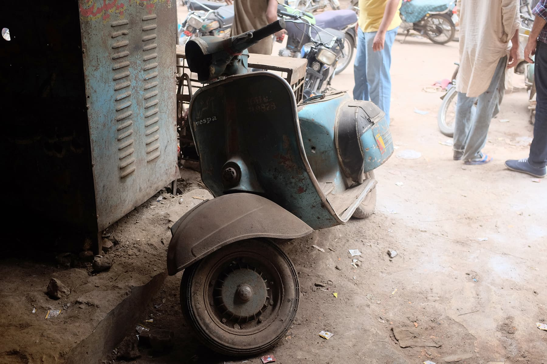 A Vespa waiting in line for refurbishment.