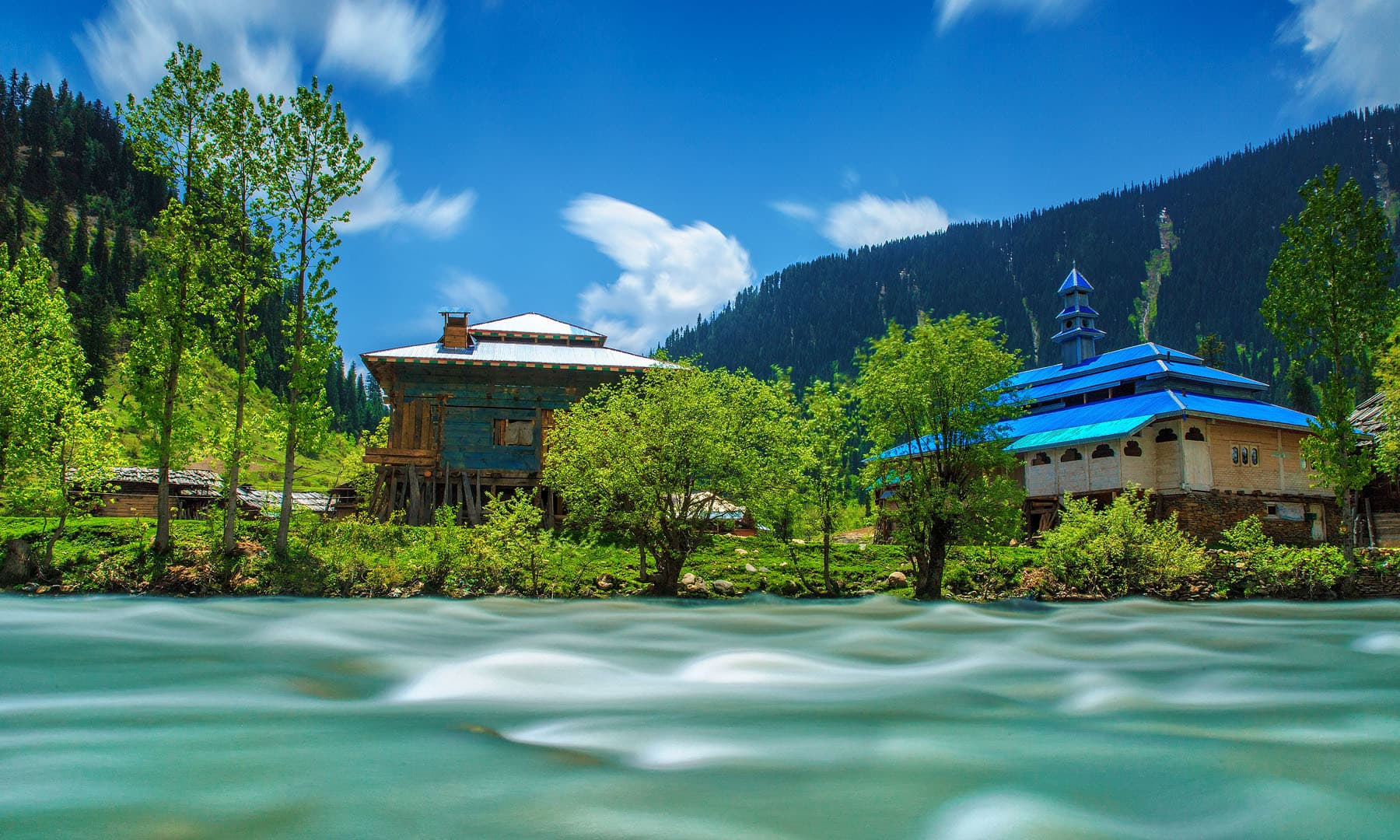 The River Neelum in Tau Butt (long exposure).