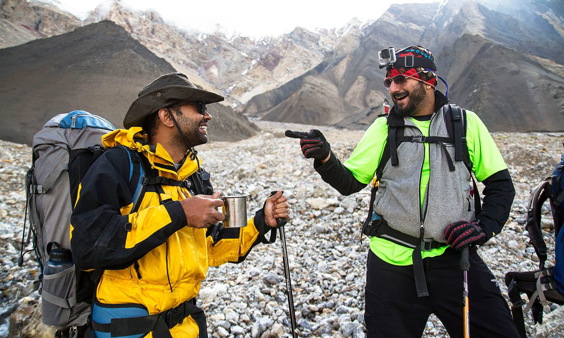 Light mood: Gup shup over a cup of black coffee before we start climbing the Shpoadeen Pass.