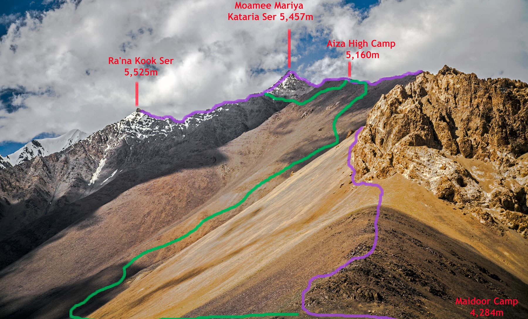 Purple marks the climbing route and green marks the descent route.
